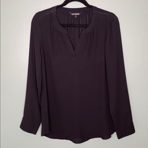Express Black Long Sleeve Blouse Top